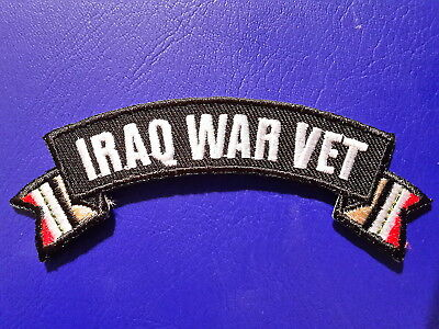 Iraq War Vet Banner Style Military Biker Embroidered Iron / Sew On Patch