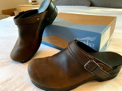 bbce713a4ae DANSKO INGRID BROWN leather open back ankle strap clogs 41 Clogs ...