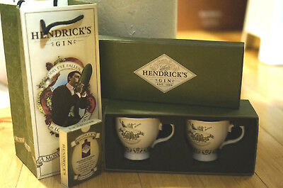 Hendrick's Gin China Tea Cup Set In Gift Box w/ BONUS Gift Bag & Playing Cards