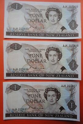 NEW ZEALAND $1 x 3 in sequence banknotes 1985-89 - RUSSELL signature UNC