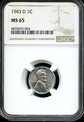 1943 D 1C Ngc Ms 65 (Mint State 65) Steel Lincoln Wheat Cent Ow520