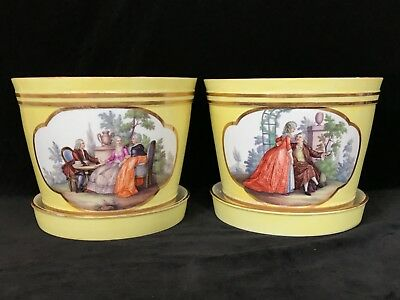 Pair Antique MEISSEN PORCELAIN CACHEPOTS WITH UNDER-TRAYS 19th Century, Signed