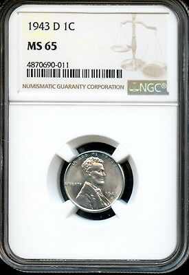 1943 D 1C Ngc Ms 65 (Mint State 65) Steel Lincoln Wheat Cent Ow530