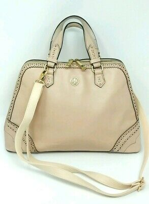 3f9d8cbeca14 Rare  600 Tory Burch Robinson Brogue Pyramid Satchel Light Oak Pink Gold  Hardwr