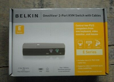 Belkin OmniView 2-Port KVM Switch with Cables E-Series New