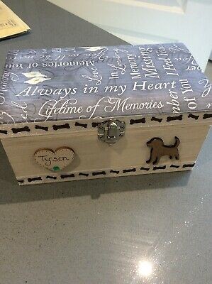 Dog Pet In Loving Memory Wooden Keepsake Memory Box Ashes Personalised Gift