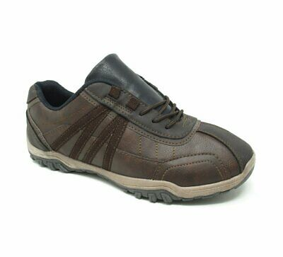 Mens Faux Leather Walking Hiking Terrain Trekking Trainers Boots Shoes Size
