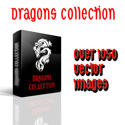 Dragons Vector Clip Art Collection for Wall Decals Car Stickers over 1000 .eps