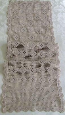 Lovely Vintage Ecru Hand Crocheted Table Runner Worked in Filet Pattern