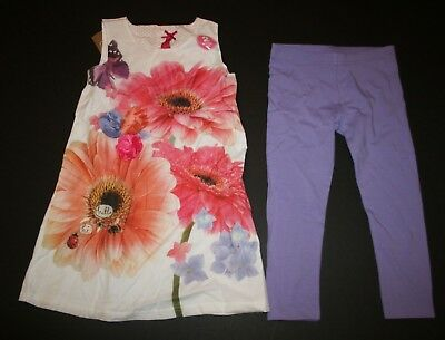 New NEXT UK Girls 2 Piece Outfit Summer Floral Dress Tunic Top & Leggings 4 5 yr