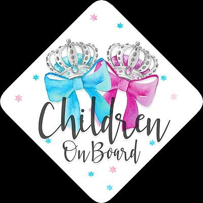 Children on Board,Child Baby On Board Car sign Pink & Blue Bow Silver ~ Non Pers