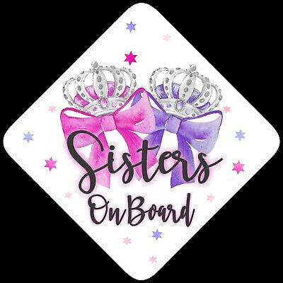 Sisters on Board,Child Baby On Board Car sign Pink & Purp Bow Silver ~ Non Pers