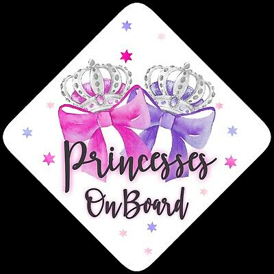 Princesses on Board,Child Baby On Board Car sign Pink & Purp Bows Non Personalis