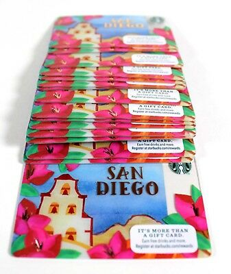 Starbucks Gift Card Lot San Diego City Mission Gold No Value Limited Ed 20 Cards