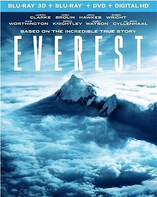 EVEREST (2015) 3D + 2D Blu-Ray +DVD BRAND NEW Factory Sealed, Free Shipping