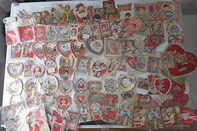 LOT OF 87 VINTAGE VALENTINES 1930'- 40's USED VERY GOOD CONDITION