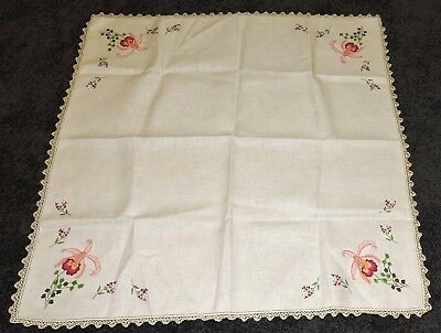 Retro Tablecloth Ecru Painted Pure Linen To Embroider Peach Purple Orchid Flower