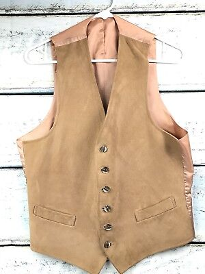Vintage Vest Suede Leather Tan Slim Fit Adult Small Youth Large Western