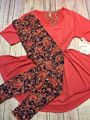 cc4c422bb3bb Lularoe Outfit XL Perfect T Coral & TC Navy And Coral Paisley TC Leggings!