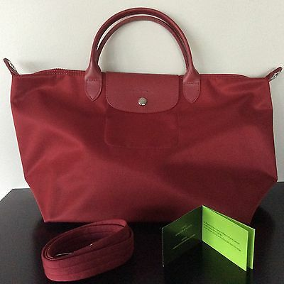 NEW authentic LONGCHAMP Le Pliage Neo Wine Red Medium Tote w  Long Strap  BNWT 9f015822d2045