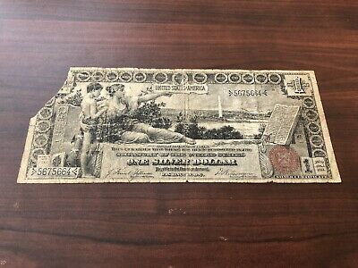 1896 $1 Educational Note Silver Certificate Small Red Seal - Corner Missing