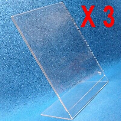 "K552Q Lot 3 Clear Acrylic Slanted Sign Holder 8.5x12"" Plexi Lucite Counter Easel"