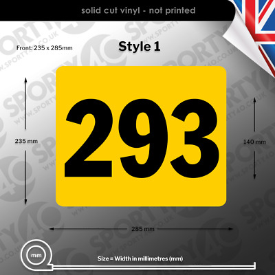 ACU Race Number Rectangles / Plates -  Fronts, Sides & Sets - 3227-0219