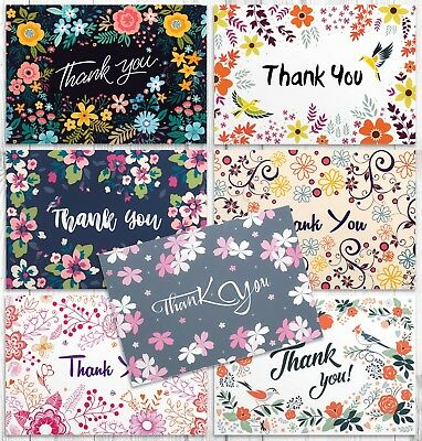 SALE! 42 Thank You Cards in Bulk - Floral Greeting Cards Set With Envelopes