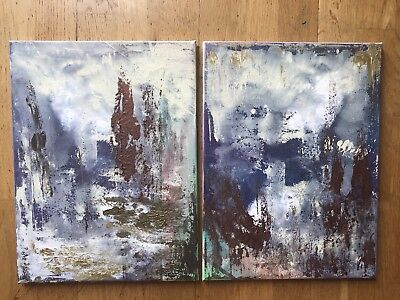 2 Colorful Blue Abstract Original Modern Fine Art Signed Painting on canvases