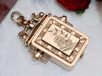 C1890 Antique Victorian 10K Rose Gold Gf Double Sided Repousse Watch Fob Locket