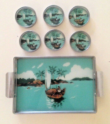 Vintage Glass Painted Metal Tray and 6 Coaster Set - 1950's
