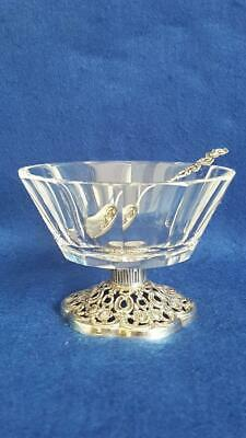 Terrific Mid 19th Cent Hildesheim Rose Silver & Crystal Bowl with Spoon