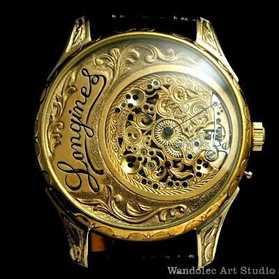 LONGINES Vintage Men's Wrist Watch Mechanical Gold Skeleton Mens Wristwatches