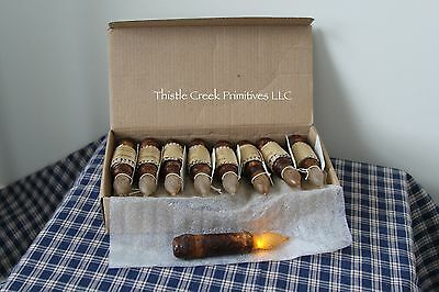 "Box of 18 - LED Burnt Mustard 4.5"" Battery Operated TIMER Taper Candles"