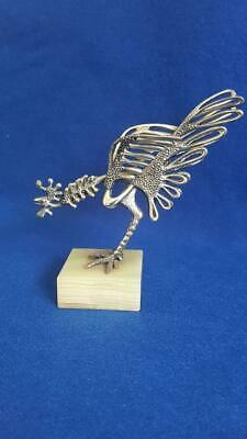 Extraordinary 1950-60s Modernist Silver Fighting Cock Sculpture on Green Onyx