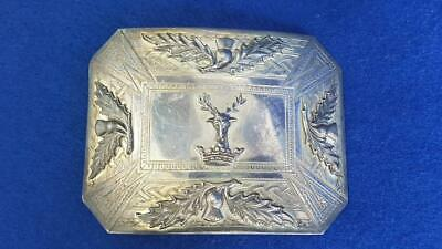 BB2: Authentic Scots Sterling Silver Clan Gordon Stag Head Belt Plate/Buckle 96g