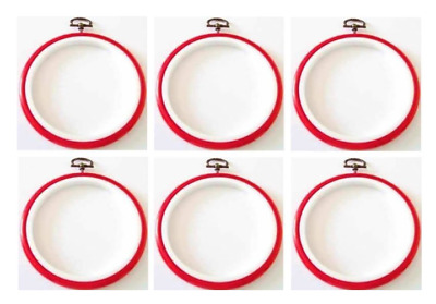 Red Flexi Hoop 8 cm 3 inch cross stitch /sewing / display frame pack of 6