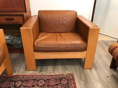 A mid 20th century terence conran Leather Arm Chair design for habitat .