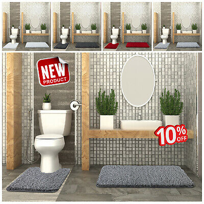 2 Piece Heavy Bath Mat Set Non_Slip Plain Design Bathroom Toilet Pedestal Mats