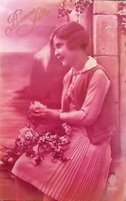 VINTAGE/ANTIQUE 1930s FRENCH GIRL GREETINGS PHOTO TINT POSTCARD/CARD~BIRTHDAY~