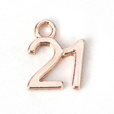 10 ROSE GOLD NUMBER 21 CHARM/PENDANT 12x10mm Birthday~Wine Glass Charms (N17) UK