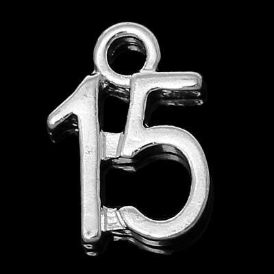 10 SILVER PLATE NUMBER 15 CHARM/PENDANT 12x9mm Birthday~Wine Glass Charms (N18)