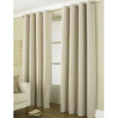2 Linea Beige Blackout Curtains Luxury Energy Saving Eyelet Screen 168cm x 229cm