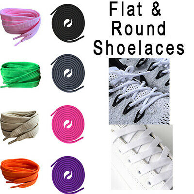 Flat & Round Coloured Shoelaces For Football Boots Trainers Hi Tops Converse!