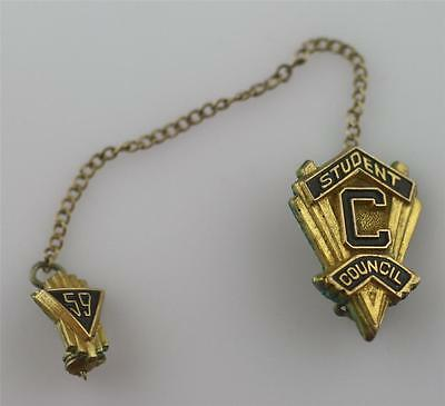 Vintage gold filled 1959 student council tie pin lapel clip with chain set pair