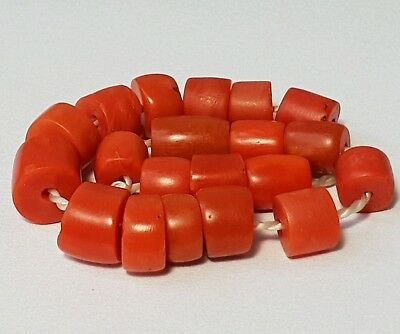 A Beautiful Strand Of Antique Indo-Tibetan Natural Red Coral Beads