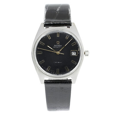 Omega Vintage Black Sticks Dial Steel Leather Automatic Unisex Watch 135.041