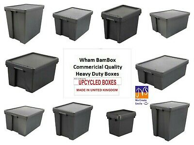Wham Bam Heavy Duty Plastic Storage Box Boxes With Lids - Upcycled Plastic
