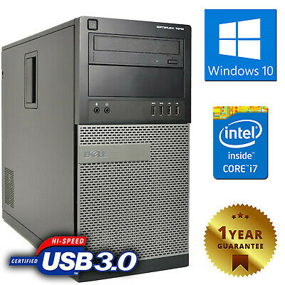 PC COMPUTER FISSO DESKTOP TOWER DELL 7010 QUAD CORE i7-3770 8GB 500GB WINDOWS 10