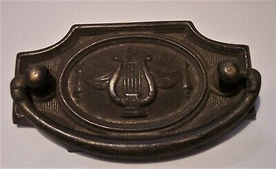 vintage architecture furniture hardware brass Hepplewhite lyre drawer pull USA